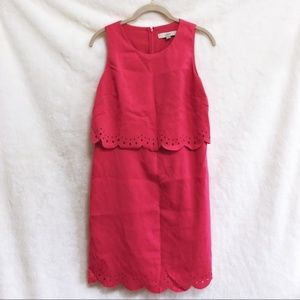 LOFT Pink Scalloped Style Sleeveless Dress